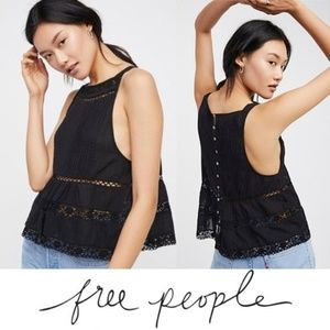 NWT Free People Constant Crush Tank Top Black Med